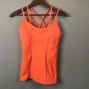 Zella Strappy Back Mesh lined athletic top